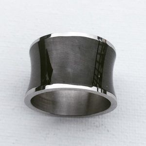 🆕 Stainless Steel Black Resin Band